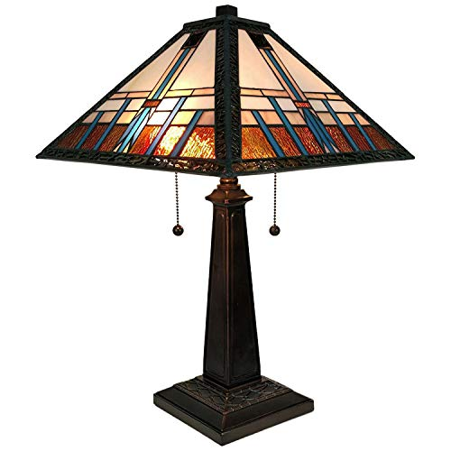 Amora Lighting Tiffany Style Table Lamp Banker Mission 21' Tall Stained Glass Blue White Brown Vintage Antique Light Décor Living Room Bedroom Office Handmade Gift AM239TL14B, Multicolor