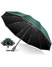 TSUNEO 折疊傘 2021款 附帶10根傘骨反向折疊式 附帶反光條 折疊傘 男士傘 大號 折疊傘 一鍵式 自動開合 防止跳出功能 晴雨兩用 男士遮陽傘 防紫外線 梅雨對策 適用于臺風 高強度玻璃纖維 附帶收納袋 男款 女款
