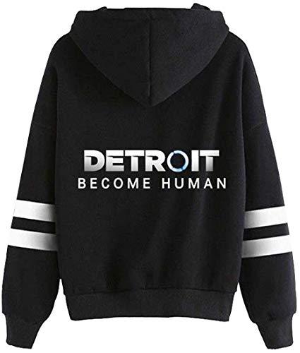 Imilan Unisex Men's Novelty Hoodie Detroit Become Human Printed Pullover Hooded Game Sweatshirt(X-Large,Black DT)