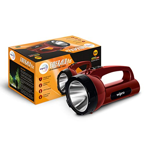 wipro Emerald Plus Rechargeable Emergency Light (Pack of 1, Red) (CL0008)