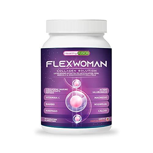 Flexman Plus   Collagene marino + Glucosamina + Vitamina C   Formula per le donne   Allevia il dolore muscolare, in articolazioni ed ossa   Potente antinfiammatorio con azione analgesica   400 grammi