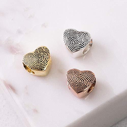 Actual Fingerprint Charm European Bracelet Bead Custom Fingerprint Bead Fingerprint Jewelry Memorial Gift Mom Gift