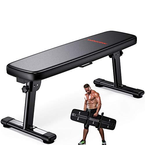 WINNOW Banc de Musculation Banc d'entraînement Pliant avec poignée de Transport Banc de Fitness multiusage d'entraînement à Domicile Plat