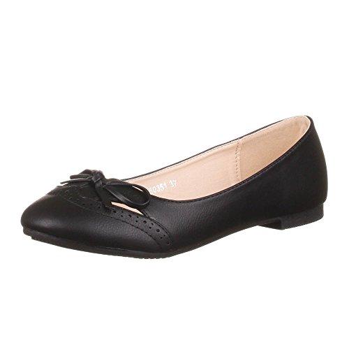 Ital-Design Damen Schuhe, 50351, Ballerinas, Schleifen DEKO Halbschuh, Synthetik in hochwertiger Lederoptik, Schwarz, Gr 36