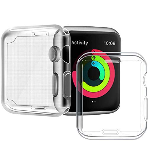 Aictoe Series 3/2 38mm Case Compatible with Apple Watch Screen Protector, Overall Protective Case TPU High Definition Clear Ultra-Thin Cover Compatible with iWatch Case Series 3/2 (2 Pack)