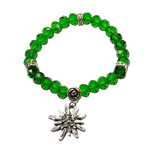 Alpenflüstern Perlen-Trachten-Armband Fiona Crystal mit Strass-Edelweiß - Damen-Trachtenschmuck, elastische Trachten-Armkette, Perlenarmband grün DAB042