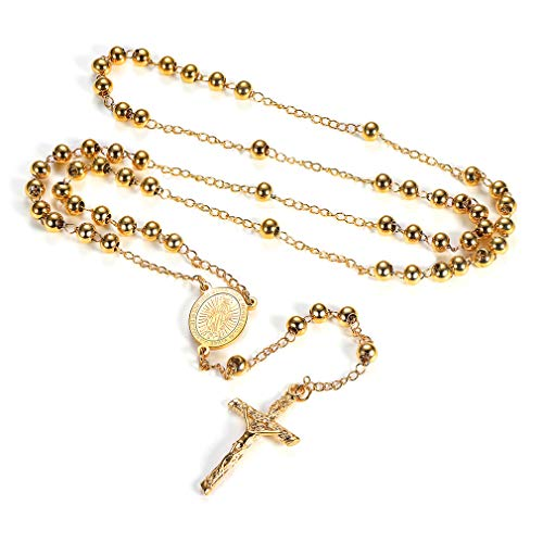 FaithHeart Rosary Beads Catholic Necklace, Holy Soil Virgin Mary Medal with Cross Crucifix Pendant, 6MM Beads, 28 Inches Chain, 6.7 Inches Pendant (Gold)