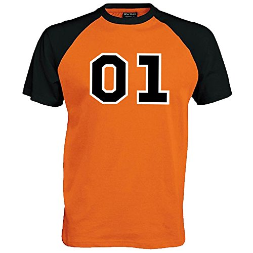 Maglietta da baseball, unisex, motivo 01 General Lee Orange/Black XX-Large