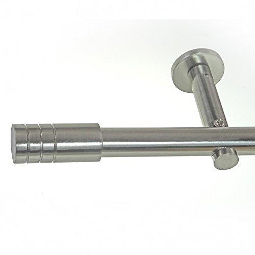 BASIT® Gardinenstange Set Edelstahl Look Metall Ø 19mm zur Wandbefestigung 1-lauf Zylinder, Länge wählbar H19E60, Länge:240 cm