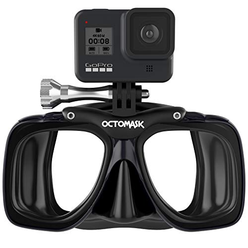 OCTOMASK - Dive Mask w/Mount for all GoPro Hero Cameras for Scuba Diving, Snorkeling, Freediving (Black)