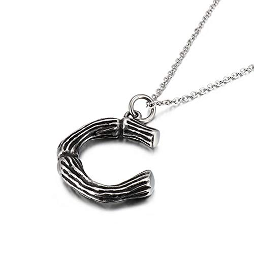 KnBoB Edelstahl Halskette für Herren Silber Bambus Alphabet C Anhänger