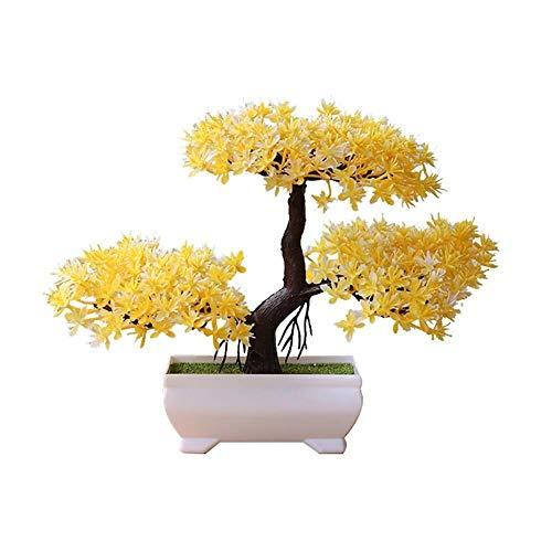 CLQya Bonsai Artificial, Mini Creativo Bienvenida Pino Emular Bonsai, Fake Bonsai Potted Tree Decoración de Plantas Artificiales, Interior Decoración de la Oficina en el Hogar (Color: Verde),Amarillo
