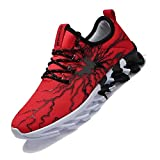 MEINIANGUAN Kids Sneakers Non Slip Running Tennis Shoes Lightweight Lace-up Athletic Sports Walking Tennis Shoes for Boys Girls Red/White Big Kid Size 5