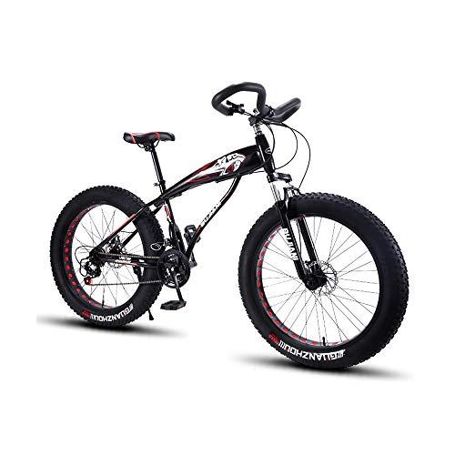 GYZLZZB Hollow Rim Cross-Country Beach Snowmobile 26' Mountain Bikes,7 Speed Bicycle,Adult Fat Tire Mountain Trail Bike,Aluminium Alloy Frame Dual Full Suspension Dual Disc Brake(Black and Red)