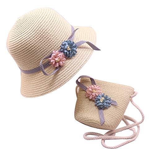 Kinder Strohhut Bucket Hat Wendehut Sonnenhut faltbar Strand Cap Lovely Charm Prinzessin Strohhut Baby Mädchen Sonnenhut Blume Cap und Handtaschen-Set, Alter 2–8, beige