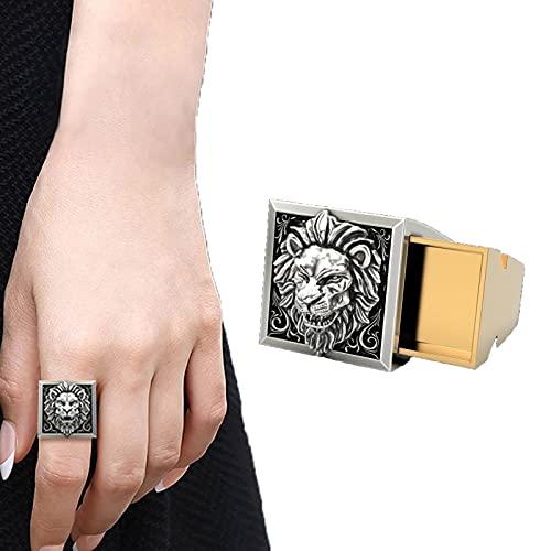 Anillo de sello de calavera de acero inoxidable plateado de metal, anillo de estilo punk para hombre, compartimento secreto, doble capa, anillo de hombre de lujo, anillo de león coronado (Lion, 10)
