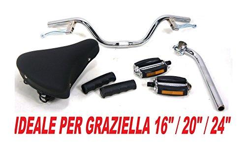 MONTEGRAPPA Kit GRAZIELLA - Sella con Molle Manubrio con Leve Freno + Piantone 21mm + Manopole + Pedali