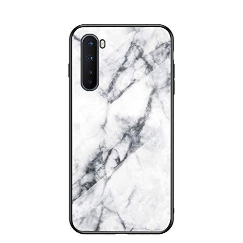 MadBee Funda para OnePlus Nord [con Protector de Pantalla],9H Cristal Templado [Mármol] [Resistente a los Arañazos] + Borde de TPU Silicona Suave Fundas Case Cover (Mármol 1)