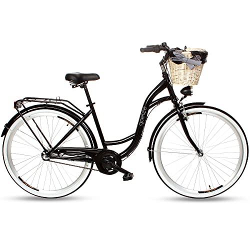 Goetze Style Damenfahrrad Retro Vintage Holland Citybike, 28 Zoll Alu Räder, 3 Gang, Shimano Nexus, Rücktrittbremse, Tiefeinstieger, Korb mit Polsterung Gratis!