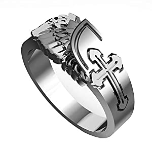 eejart 18K Gold/Silver Plated Cross with Angel Wings Ring for Men and Women, The Premium Fashion Forward 316L Stainless…