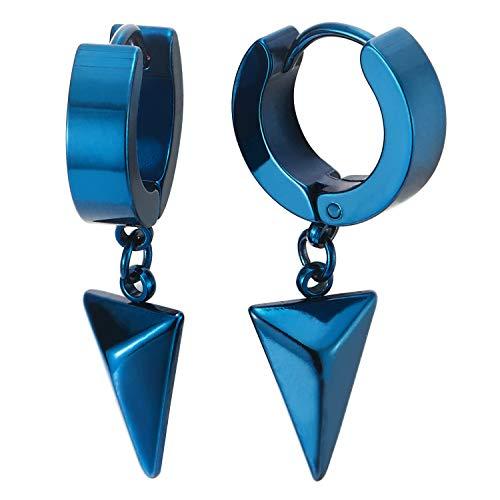 Colgantes Triángulo Pirámide, Pendientes del Aro, Azul Pendientes para Hombres Mujer, Acero Inoxidable