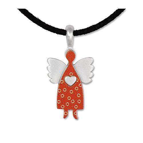 Anhänger Schutzengel Engel Kettenanhänger Silberschmuck Wolkenengel orange small, Band, Schachtel
