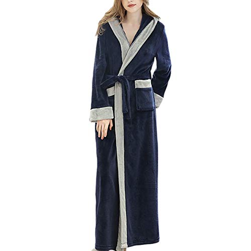 GOHHK Pijamas Ligeros para Mujer Batas largas Cálidos Pijamas navideños Otoño Invierno Acogedor y Esponjoso Batas de Franela con Capucha Batas de baño de Cuerpo Entero para Mujer
