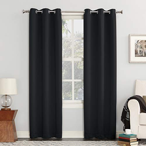 """Sun Zero Easton Blackout Energy Efficient Grommet Curtain Panel, 40"""" x 84"""", Black"""