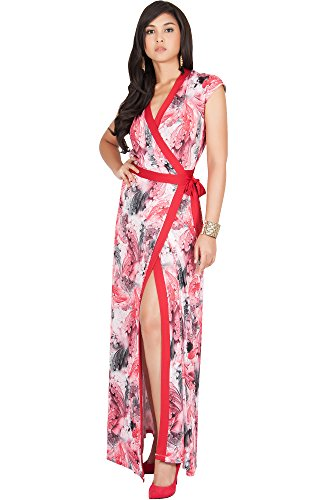 KOH KOH Womens Long Cap Sleeve Sexy Wrap Floral Print Summer Sundress Maxi Dress
