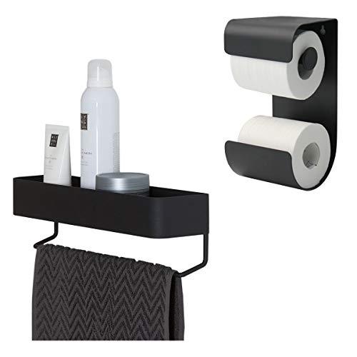 Sealskin Brix Toilettenpapierhalter mit integriertem Reserverollenhalter, Metall, Farbe: Schwarz + Brix Handtuchreck mit Ablage, Handtuchhalter aus Metall, Farbe: Schwarz