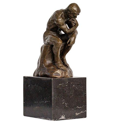 aubaho Bronze der Denker Mann Bronzeskulptur Bronzefigur nach Rodin Skulptur Replik