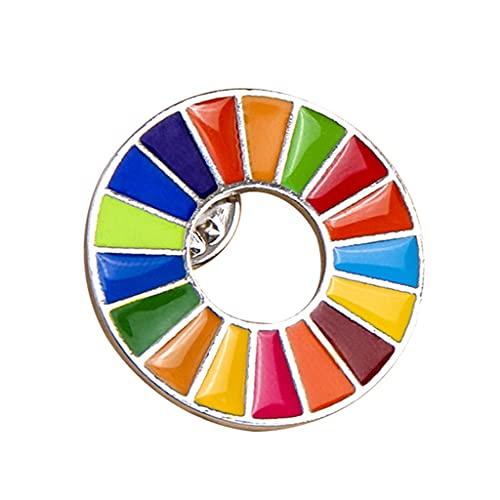 MISHITI Broche de metas de desenvolvimento sustentável das Nações Unidas SDGs Broche Rainbow Pin Badge
