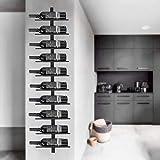 Catalpa - Portabottiglie a forma di fiore, in metallo, montaggio a parete, per 10 bottiglie, colore: Nero