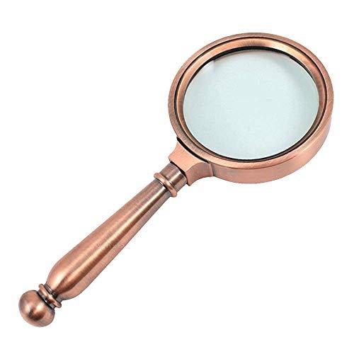 BD.Y Lupa de Vidrio óptico de Gran Aumento, Vidrio Artesanal de Metal, Bronce Dorado 5X (Color: Dorado)