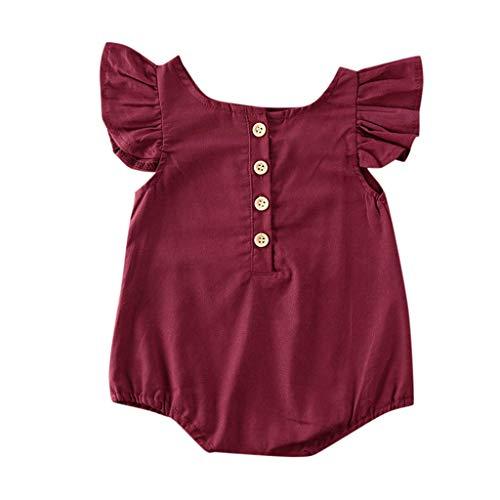Janly Clearance Sale Mameluco para bebés de 0 a 18 meses, para recién nacidos y niñas, con volantes sólidos, para bebés de 0 a 3 meses (rojo)