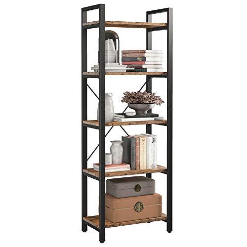 CJMM オープンシェルフラック 5段本棚 高さ169 CM おしゃれ 多目的木製ラック ディスプレイラック 収納棚 飾り棚 食器棚スチールシェルフ 木目 間仕切り リビング収納