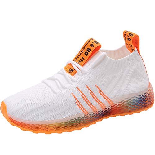 Sneaker Damen Sportschuhe Socken Schuhe Outdoor Schuhe Freizeit Slip On Bequeme Freizeitschuhe Atmungsaktiv Mesh Turnschuhe Laufschuhe Schnürschuhe (EU:40, Weiß)