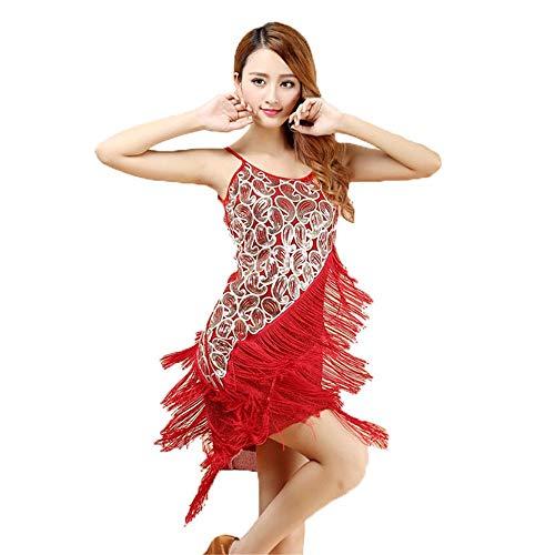 Vestido De Baile De Tango Ropa De Baile Sin Mangas Con Lentejuelas Con Flecos Flecos Aleta Vestido De Baile Latino De Baile De Tango Rumba Salón De Baile Vestido De La Ropa Puesta En Escena De Las Muj