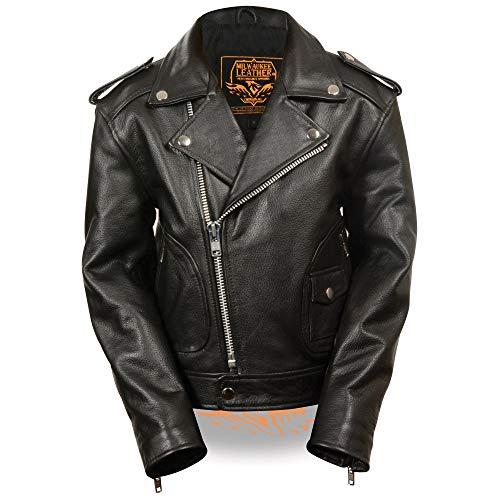 Milwaukee Leather LKK1920 Boy's Black Leather Biker Jacket with Patch Pocket Styling - X-Large