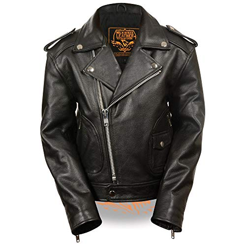 Milwaukee Leather LKK1920 Boy's Black Leather Biker Jacket with Patch Pocket Styling - Medium