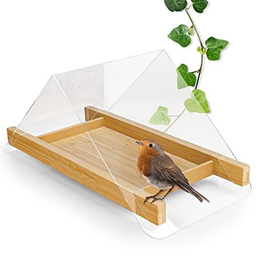 WILDLIFE FRIEND I Design Boden Vogelhaus für Wildvögel – Bodenfutterstelle Bodenfutterstation für Vögel, Futtertisch aus Bambus, Vogelfutterspender