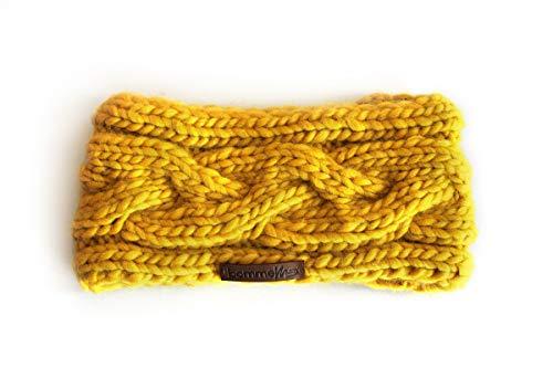 """BommelME """"Headband Plait Bandeau de Laine Doux et Chaud, Mailles Torsades, Bandeau tricoté de Laine de mérinos, Taille Unique, Couleur: Jaune"""