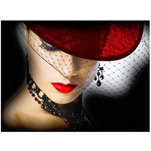 Artaslf 5D DIY Cuadrado Completo Señora con Sombrero Diamante Bordado Seck Punto de Cruz Decoración Imagen de Regalo - 40 x 50 cm sin marco
