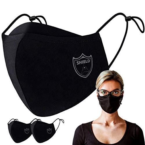 NOEMANN Shield Plus Atmungsaktiver Mundschutz für Brillenträger - 2 Stück - Waschbar, Wiederverwendbar & Justierbar - Wasserabweisend - Für Alltag, Sport & Freizeit - Erwachsene - Schwarz - 2er Pack