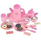 BLLJQ Kinder-Tee-Set aus Holz, Party-Pretend-Spielküchen-Set, Nachmittagstee-Kuchen-Dessert-Spielzeug, für Rollenspielzeug für Jungen und Mädchen ab 3 Jahren