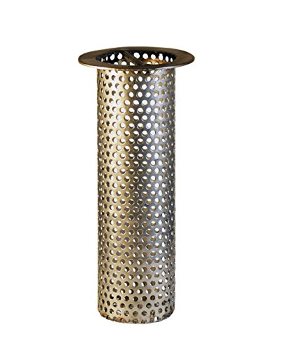 2' Commercial Floor Drain Strainer, 6' Tall, Perforated Stainless Steel