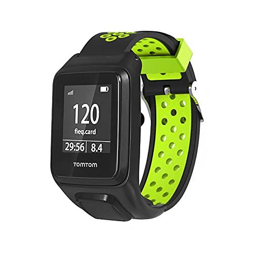 KINOEHOO Correas para relojes Compatible con TomTom Runner 2/3 Spark/3 Cardio + Music Pulseras de repuesto.Correa de Reloj.(Negro y verde)
