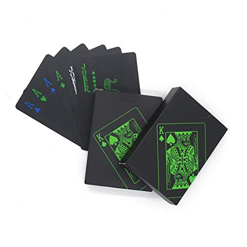 Waterproof Playing Cards, 2 Deck Playing Cards for Adults, Creative Black Plastic Magic Playing Card for Gifts and Game by QPEY