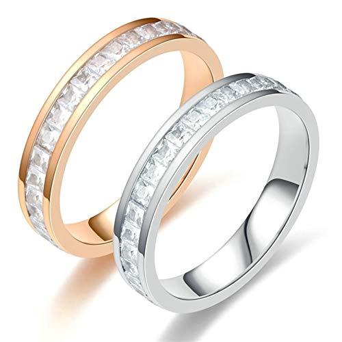 ANAZOZ Anillo Pareja Acero Inoxidable Oro Rosa Plata Redondo Cristal Circonita Blanca Talla Mujer 20 & Hombre 27