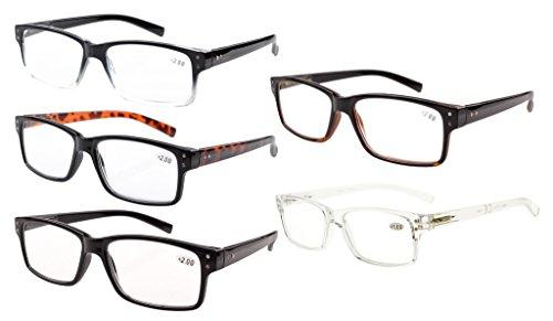 Eyekepper Mannen Vintage Lezen Brillen - 5 Stuks Leesbrillen voor Heren Dames - Mengeling +0.50